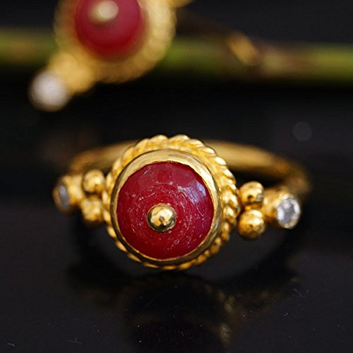 925k Silver Red Jade W/White Topaz Ring 24k Gold Vermeil Handcrafted Women Statement Ring Turkish Designer Fine Jewlery Ancient Roman Art