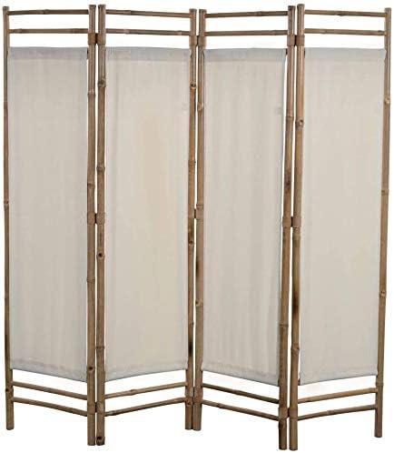 lyrlody- Biombo Plegable 4 Panel, Separador de Habitación Divisor de Habitaciones Decoración Elegante Divide Espacio Tabique de Separación Bambú y Lona Crema, 160 x 160 cm: Amazon.es: Hogar