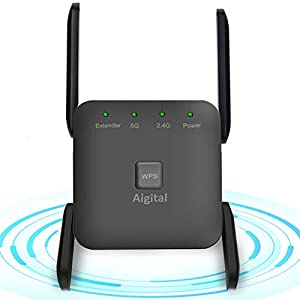 Aigital WiFi Range Extender 1200Mbps, Broadband/Wi-Fi Booster, Dualband Wireless Signal Repeater with 1 Fast Port and 4…
