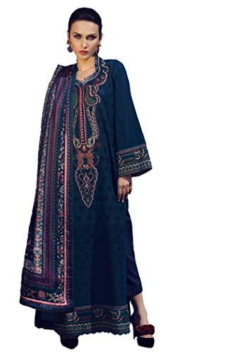 IshDeena Pakistani Designer Lawn & Chiffon Dresses for Women Ready to Wear Salwar Kameez (Small, Duke Blue - Tena Durrani) ()