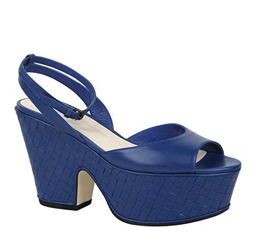 Bottega Veneta Women's Blue Woven Leather Platform Wedge Sandal 338279 4217 (IT 39.5 / US 9.5)