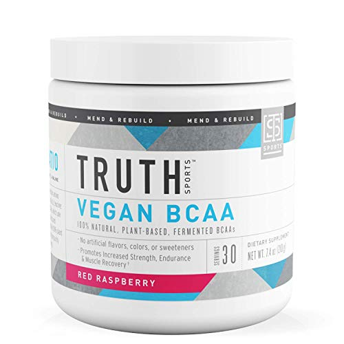 Truth Nutrition Fermented Vegan BCAA Protein Powder Supplement- 2:1:1 Improved Formula is Pure, Powerful All Natural Branched Chain Amino Acids (Red Raspberry, 30 Servings)
