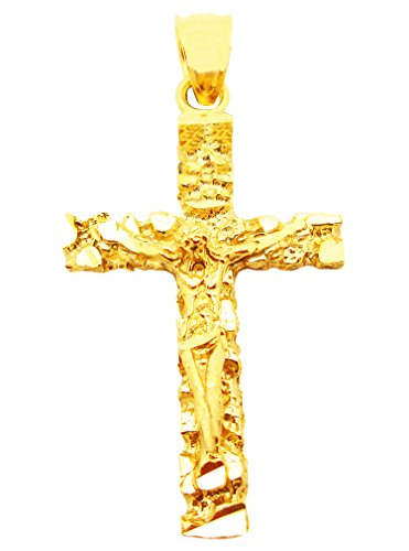 (AMZ Jewelry Mens 10k Yellow Gold Nugget Cross Pendant Gold Crucifix Charm 1.3 inch)