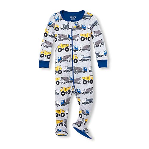 - The Children's Place Baby Boys Novelty Printed One Piece Long Sleeve Footed Sleeper, Heather/T Mist 3-6MONTHS