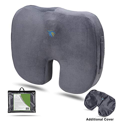 Portable Seat Cushion for Car, Kitchen, Office and Events. Pain Relief for Back Tailbone/Coccyx and Sciatica-Premium Orthopedic Gel Cooled Memory Foam + Extra Non Slip Cover. (Furniture Patio Tahoe)