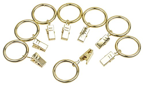 Perfect Order Iron Metal Curtain Clip Rings 1 Inch Interior Diameter (20, Gold)