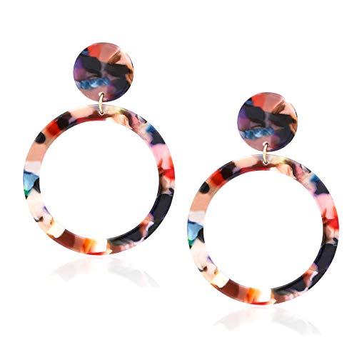 Boho Women Fashion Acrylic Wood Earring Round Circle Resin Ear Stud Earrings NEW