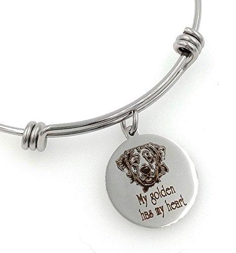 (My Golden Retriever Has My Heart Engraved Expandable Bangle Bracelet )
