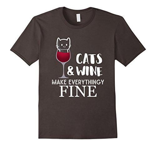 Men's Cats And Wine Make Everything Fine  Kitty in a Glas...