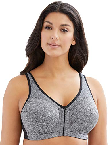 Glamorise Women's Plus Size Full Figure MagicLift Moisture Control Bra #1264, Gray Heather, 44F