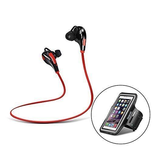 Omaker Hi-Fi Bluetooth Kopfhörer 4,0 Wireless Sport In-Ear-Kopfhörer mit Freisprechfunktion + Sport Oberarmtasche Wasserabweisend