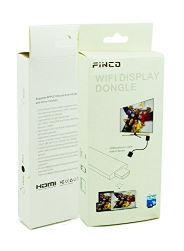 FINCO(TM) Full Hd 1080p Wireless Hdmi Adapter / Miracast Dongle/ Ezmirror / Dlna / Airplay / Real Time Display Function, Free Wifi Receiver, Compatible with Android Os / Ios / MAC Os / Windows Devices