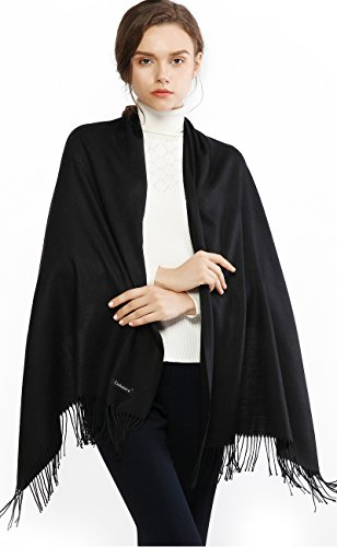 Cashmere Winter Warm Scarf Pashmina Shawl Wrap for Women and Men Black Long Large Soft Scarves