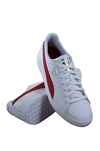 Puma Select Mens Clyde Sneakers Blanc / Barbade Cerise / Or