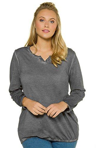 Womens Ultra Tall Sand (Ulla Popken Women's Plus Size Cold Dye Notch Neck Cotton Tunic Dark Grey 12/14 709257 11)