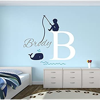 Fishing boy personalized name wall decal baby boy room decor nursery wall decals