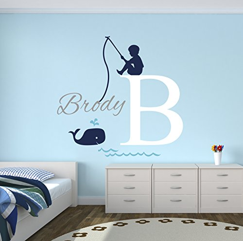 Fishing Boy Personalized Name Wall Decal – Baby Boy Room Decor – Nursery Wall Decals – Nautical Wall Decals – Whale Vinyl Wall Sticker