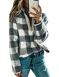 Women's Long Sleeve 1/4 Zip Up Lapel Fleece Sweatshirt Warm Plaid Fluffy Hoodies Pullover