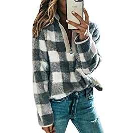 Women's Zip Up Lapel Fleece Sweatshirt Warm Plaid Fluffy Hoodies Pullover