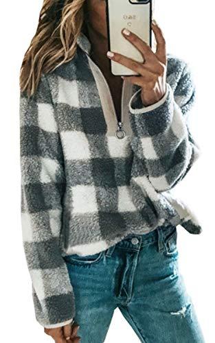 Angashion Women's Long Sleeve 1/4 Zip Up Lapel Fleece Sweatshirt Warm Plaid Fluffy Hoodies Pullover Gray White S
