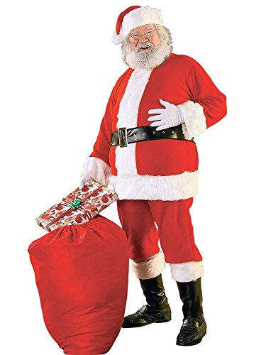 Rubie's Bright Red Flannel Santa Suit With Gloves, Red/White, X-Large