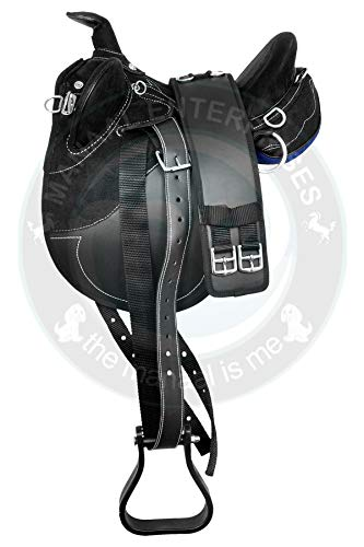 Manaal Enterprises Synthetic Suede Australian Stock English Horse Saddle Tack Get Stirrup, Matching Girth, Size 14