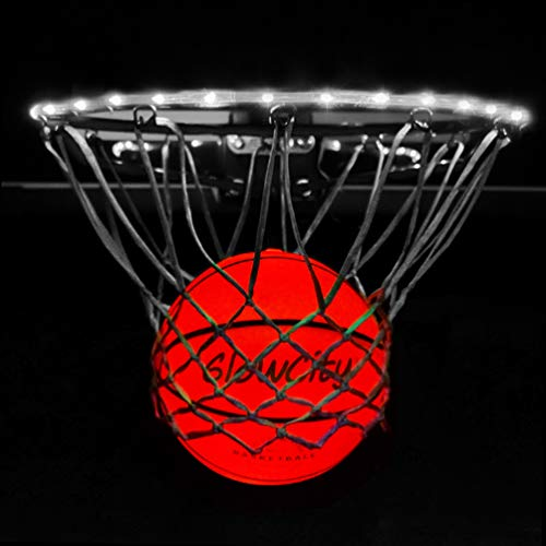 GlowCity Light Up LED Rim Kit with LED Basketball Included - White, Size 7 Basketball (Official Size)