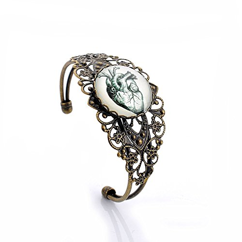 LUREME Vintage Jewelry Time Gem Series Antique Bronze Hollow Out Design Flower with Disc Open Bangle Bracelet for Women and Girls (06001816-parent) (Human Heart) ()