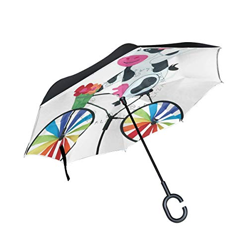 Inverted Umbrella Cow On A Bike Artistic Limited Edition Designs-Double Layered Reverse Colorful Rain Umbrella – Durable Inside Out Waterproof Windproof No Drip Protection by A lie