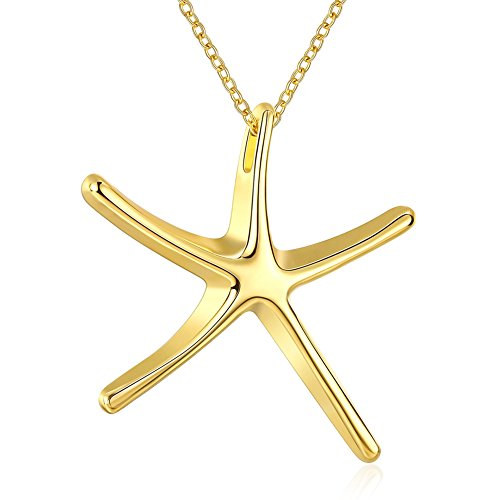 NA BEAUTY 14K Yellow Gold Starfish Pendant Necklace, (14k Gold Starfish Necklace)