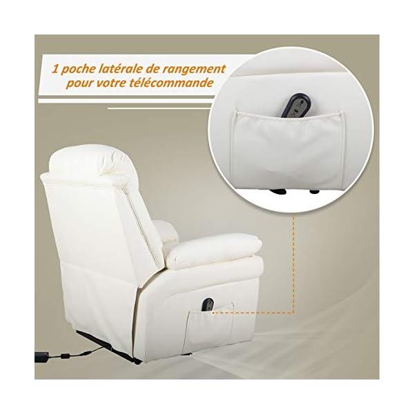 HOMCOM Fauteuil de Relaxation électrique Fauteuil releveur inclinable avec Repose-Pied Ajustable revêtement synthétique…
