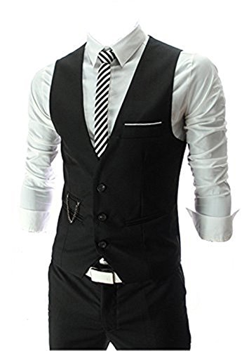 QinYing V-neck Sleeveless Slim Fit Jacket Men Business Suit Vests Black (Wear Suit Vest)