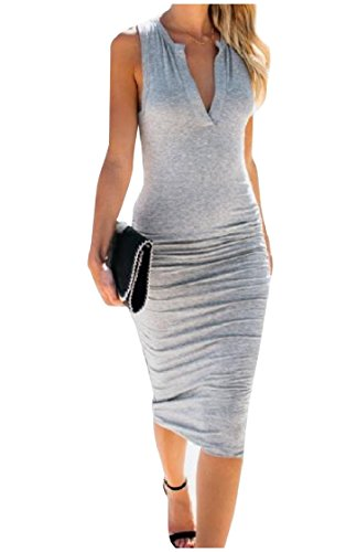 Grey Dress Coolred Women Light Sleeveless Office Fit Vest One Step Silm Sexy Pure 7OdxUBq7