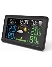 Draadloos weerstation met buitensensor, digitale thermometer, hygrometer, binnen en buiten, kamerthermometer, vochtigheid met weersvoorspelling, tijdweergave, wekker