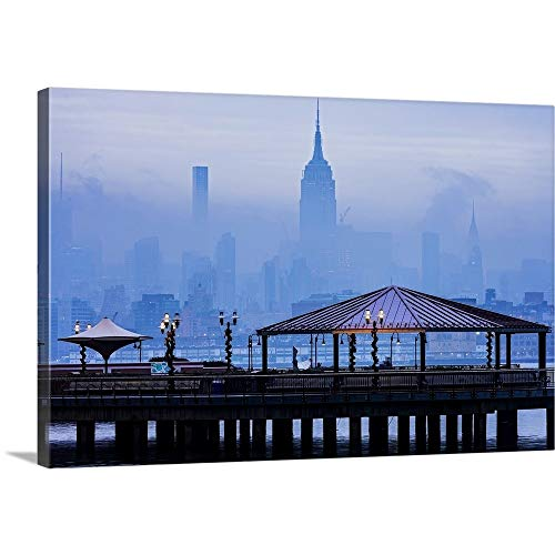 Empire State Building in A Foggy Morning Canvas Wall Art Print, 24