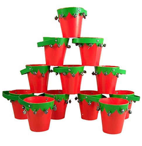 Mini Christmas Red and Green Jingle Bell Pails, Set of 12, 3 -