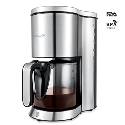Much Coffee 6 Cup - Drip Coffee Maker, HAMSWAN AD-103 Thermal Coffee Maker, Ground Coffee maker, 2, 4, 6, 8, 10 Cup Coffee Maker, Stainless Steel Coffee Machine with Glass Coffee Pot for Home&Office (120V)