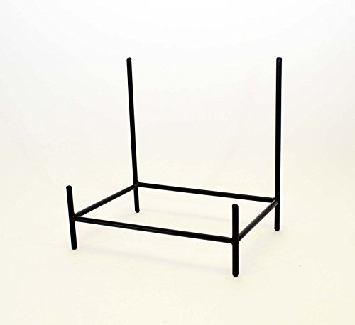 Wrought Iron Rectangular Bowl Stand-12 Inches Tall by 11.75 Inches Wide x 8 inches deep. Handmade. Painted Bronze