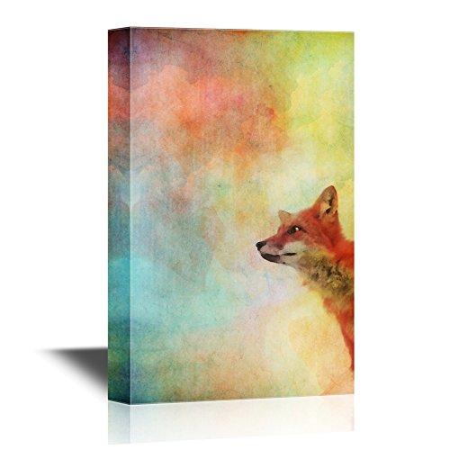 Peekaboo Animals Fox on Watercolor Style Background