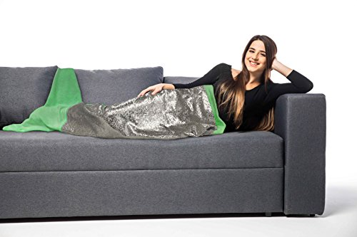 (POSH HOME Green/Silver Mermaid Sequin Tail Throw Blanket Soft Warm Comfortable Flannel Perfect Adults and Children All Season Gift)