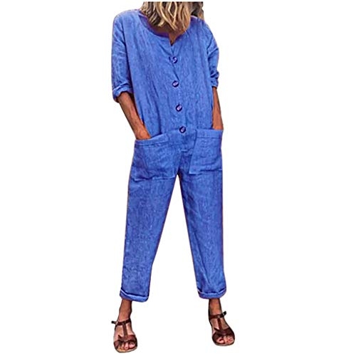 Funnygals Fashion Women Loose Overall Long Sleeve Solid Playsuit Round Neck Button Down Jumpsuit Dungarees with Pocket Blue ()