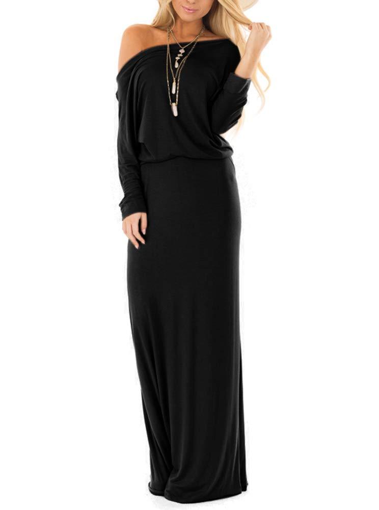 Womens Off The Shoulder Long Sleeve Dresses Casual Maxi Dress Black Medium