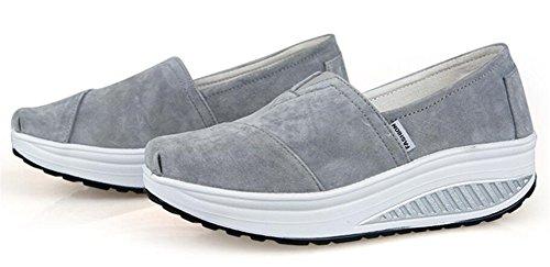 Volwassen Dames Shape Ups Pull Op Wandelschoenen Casual Mode Sneakers Grijs