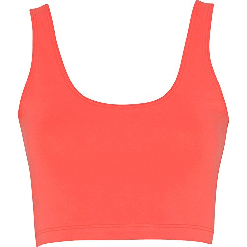Spandex Crop Top ladies Leggero Coral Womens Cotton Apparel American PpqUIwU