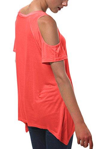 T Irregolare Spalla Moda Rosso Camicia Corallo off Tops GoCo Orlo Shirt Donna Urban Tunica xgvaC