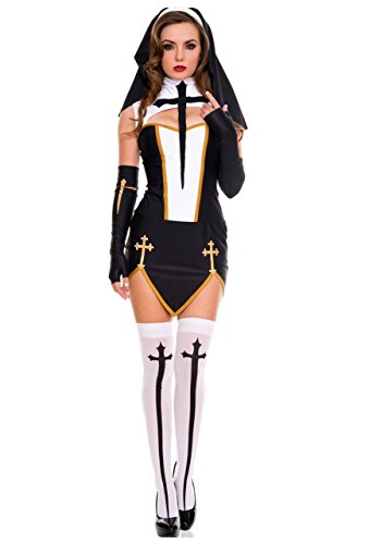 Bad Habits Nun Costumes (Rave Wonderland Women's Bad Habit Nun Medium)