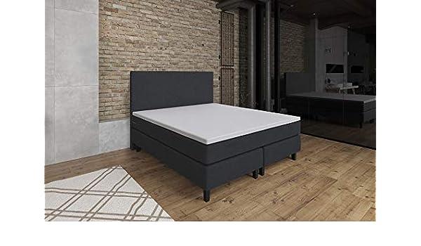 Cama con somier ETNA, 160 x 200 cm, núcleo de muelles ensacados H2/H3, colchón de muelles ensacados, colchón de Espuma, Cama de Hotel, Antracita, Antracita, ...