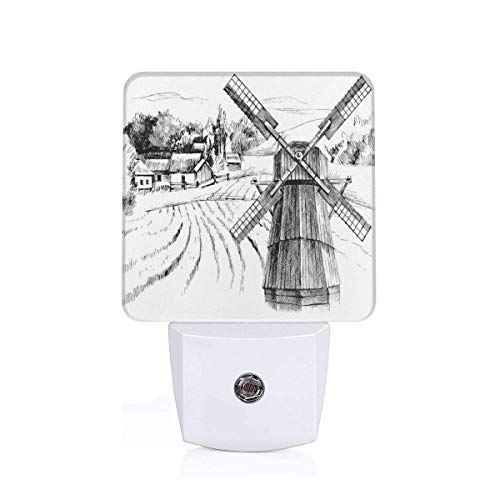Colorful Plug in Night,Hand Drawn Rural Scenery Small Town Farm Houses Forest and Mill Romantic Sketch,Auto Sensor LED Dusk to Dawn Night Light Plug in Indoor for Childs -