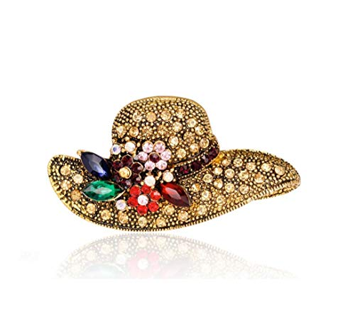 Smiling sunflower Vintage Brooch pin Rhinestone Crystal Lovely Animal-Shaped, Flower-Shaped Bodice Scarf Clip Brooch for Women and Girls-C