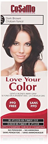 Love Your Color Cosamo Non Permanent Hair Color, Dark Brown (No Ammonia No Peroxide No Ppd Hair Color)